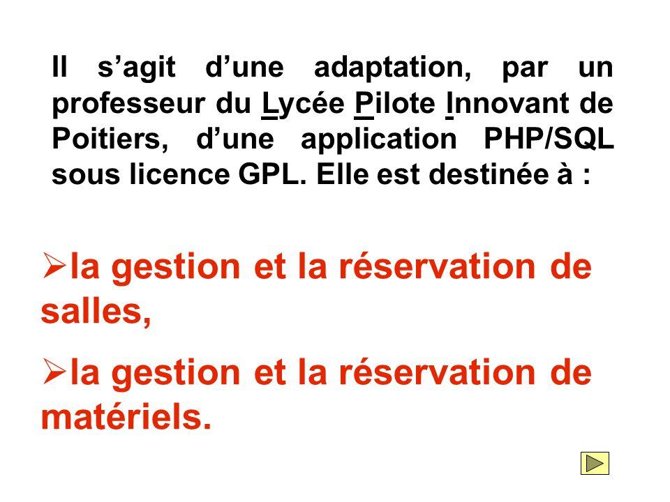 Il s'agit d'une adaptation, par un professeur du Lycée Pilote Innovant de Poitiers, d'une application PHP/SQL sous licence GPL. Elle est destinée à :