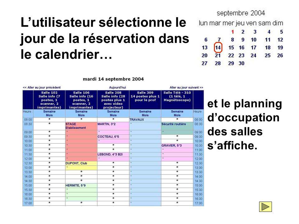 L'utilisateur sélectionne le jour de la réservation dans le calendrier… et le planning d'occupation des salles s'affiche.