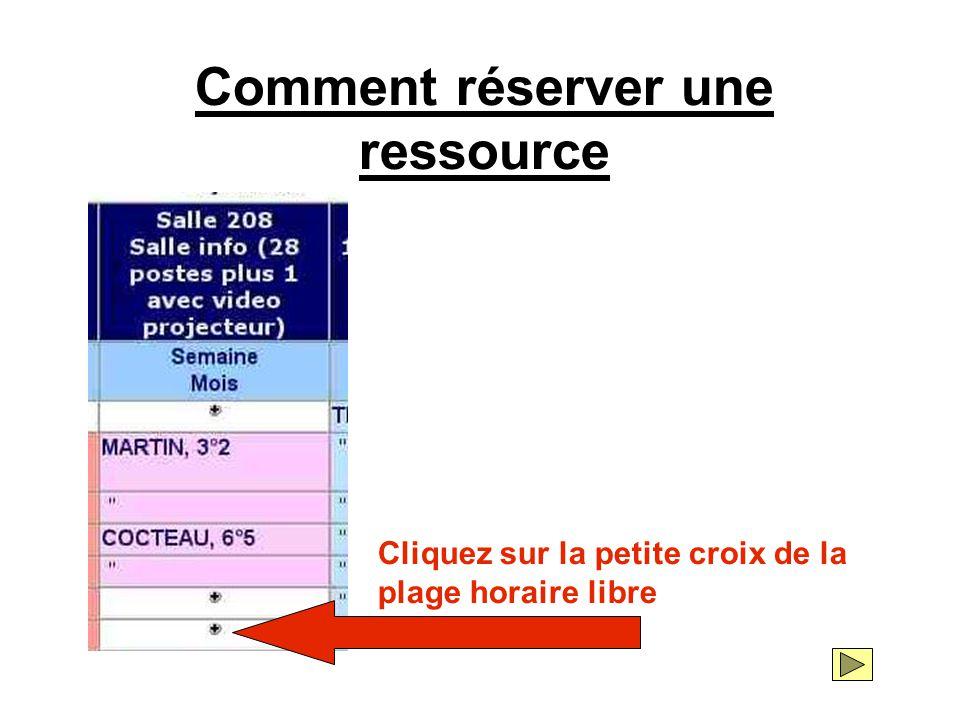 La fiche de réservation du créneau sélectionné est affichée à l'écran.