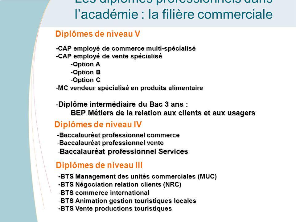 Les diplômes professionnels dans l'académie : la filière commerciale Diplômes de niveau V -CAP employé de commerce multi-spécialisé -CAP employé de ve