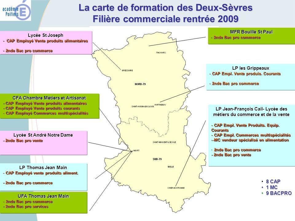 La carte de formation des Deux-Sèvres Filière commerciale rentrée 2009 LP les Grippeaux - CAP Empl. Vente produis. Courants - 2nde Bac pro commerce LP