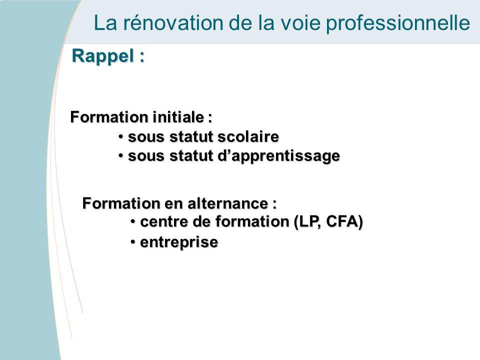 La rénovation de la voie professionnelle Rappel : Formation initiale : sous statut scolaire sous statut scolaire sous statut d'apprentissage sous statut d'apprentissage Formation en alternance : centre de formation (LP, CFA) centre de formation (LP, CFA) entreprise entreprise