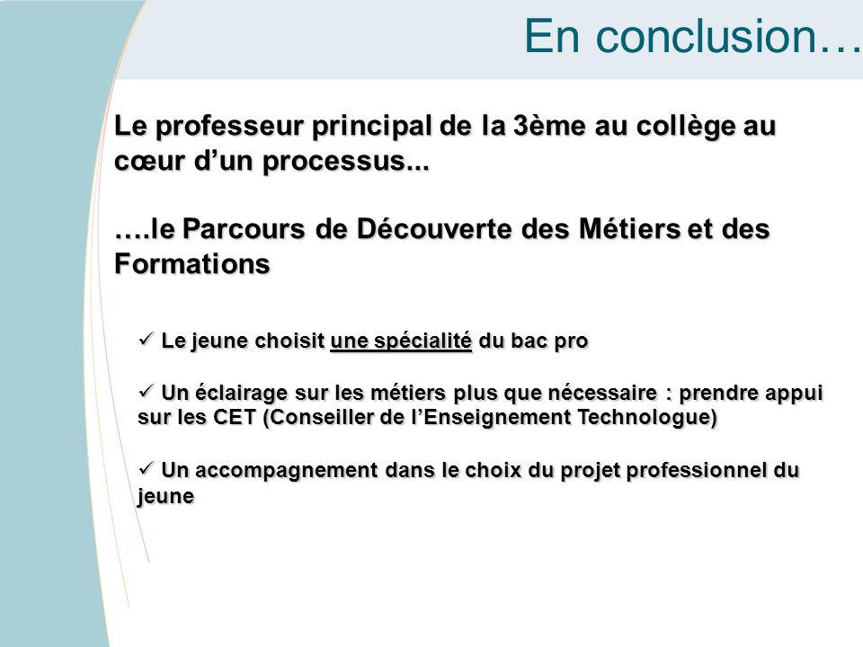 En conclusion… Le professeur principal de la 3ème au collège au cœur d'un processus... ….le Parcours de Découverte des Métiers et des Formations Le je