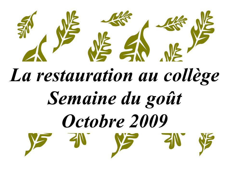 La restauration au collège Semaine du goût Octobre 2009