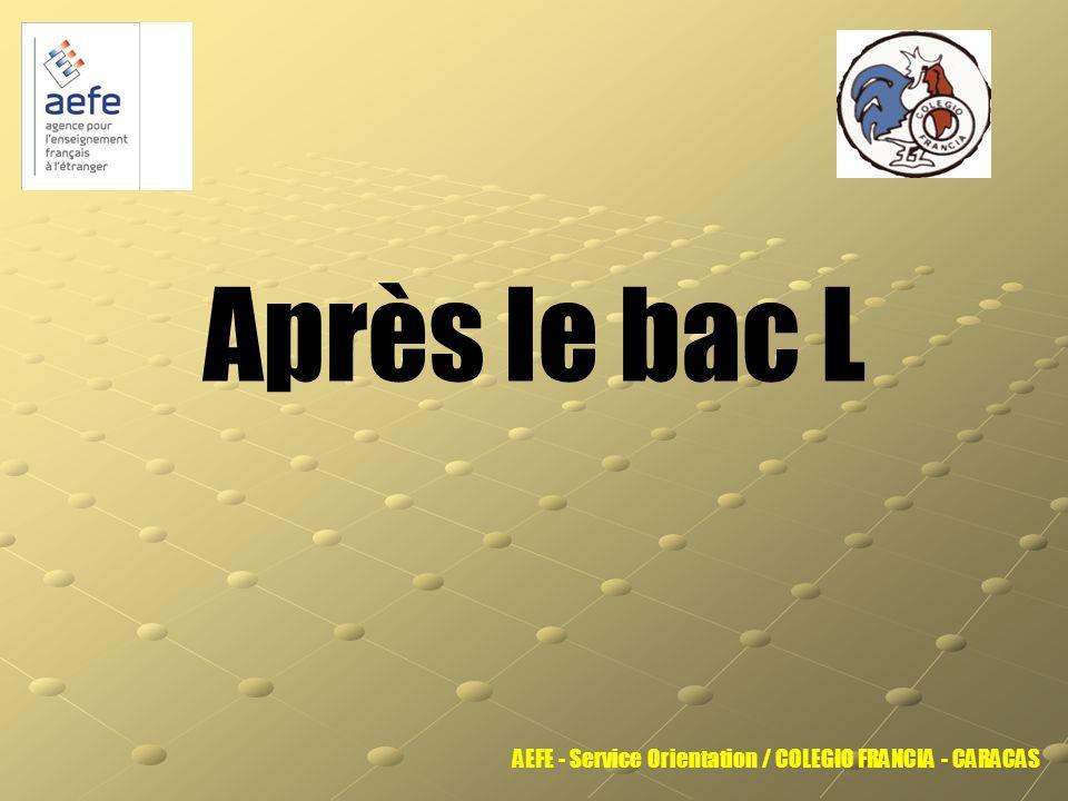 Après le bac L AEFE - Service Orientation / COLEGIO FRANCIA - CARACAS