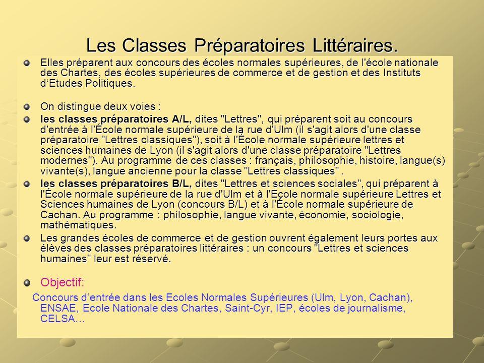 Les Classes Préparatoires Littéraires. Elles préparent aux concours des écoles normales supérieures, de l'école nationale des Chartes, des écoles supé