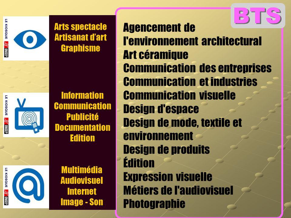 Arts spectacle Artisanat d'art Graphisme Multimédia Audiovisuel Internet Image - Son Information Communication Publicité Documentation Edition Agencem
