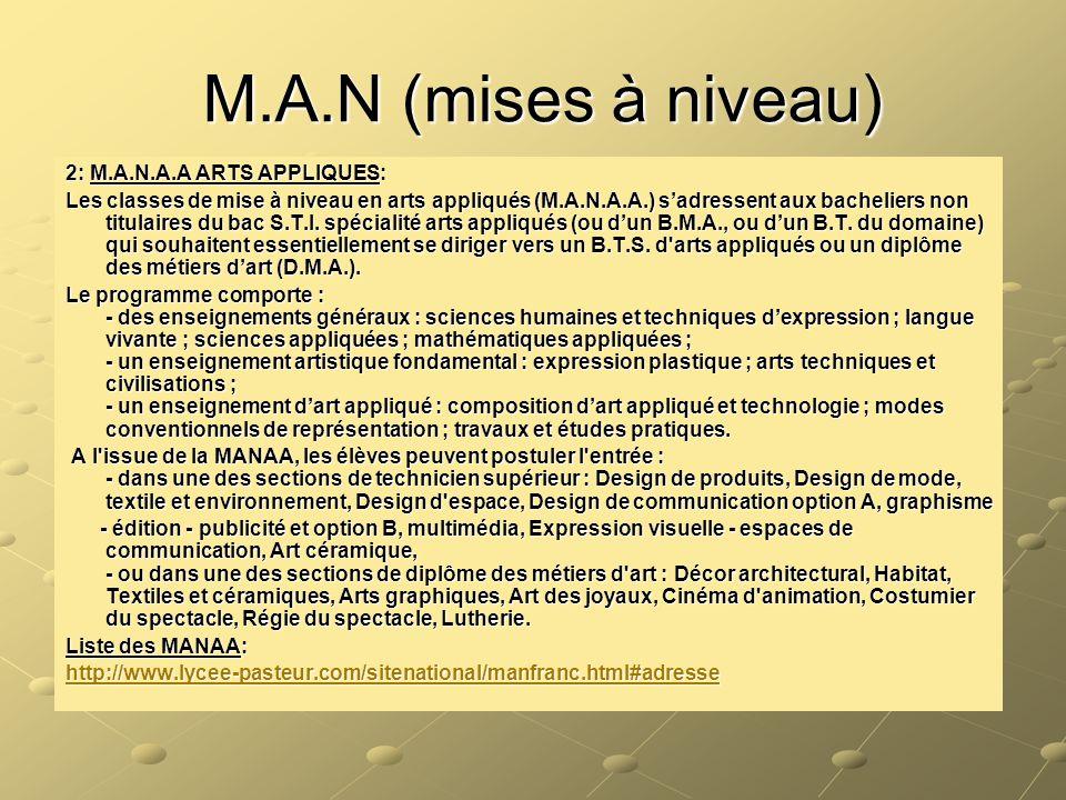 M.A.N (mises à niveau) 2: M.A.N.A.A ARTS APPLIQUES: Les classes de mise à niveau en arts appliqués (M.A.N.A.A.) s'adressent aux bacheliers non titulai