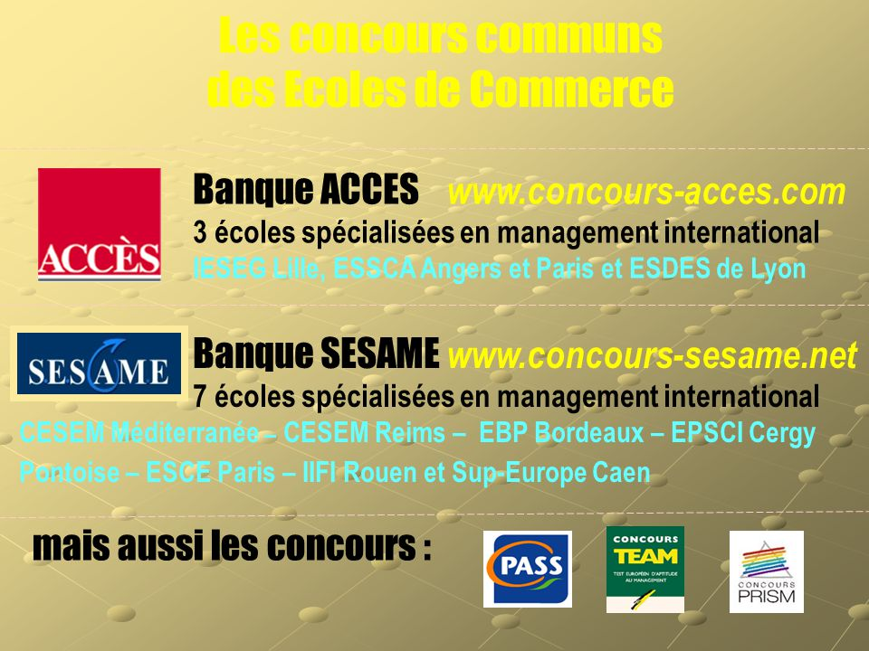 Banque ACCES www.concours-acces.com 3 écoles spécialisées en management international IESEG Lille, ESSCA Angers et Paris et ESDES de Lyon Banque SESAM