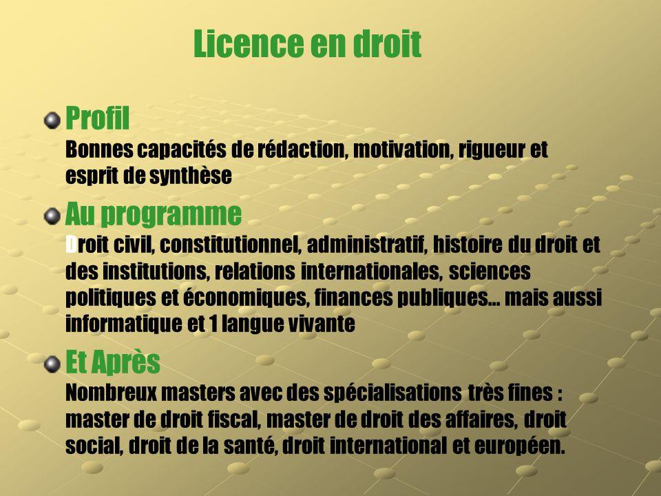 Licence en droit Profil Bonnes capacités de rédaction, motivation, rigueur et esprit de synthèse Au programme Droit civil, constitutionnel, administra