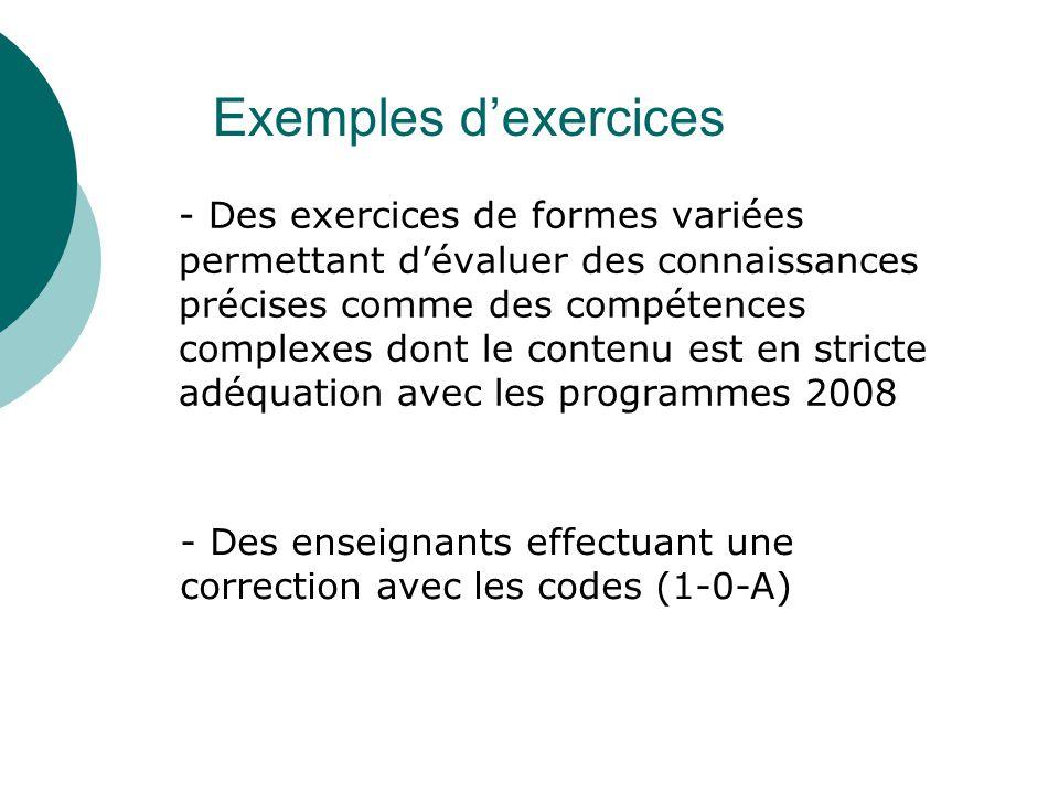 - Des exercices de formes variées permettant d'évaluer des connaissances précises comme des compétences complexes dont le contenu est en stricte adéqu