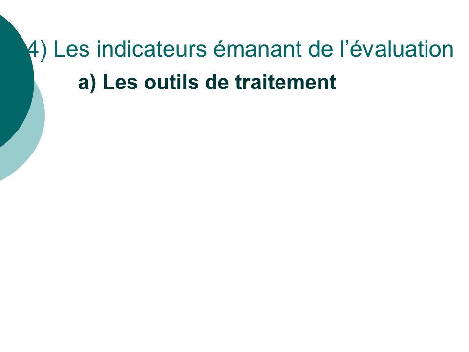 a) Les outils de traitement 4) Les indicateurs émanant de l'évaluation
