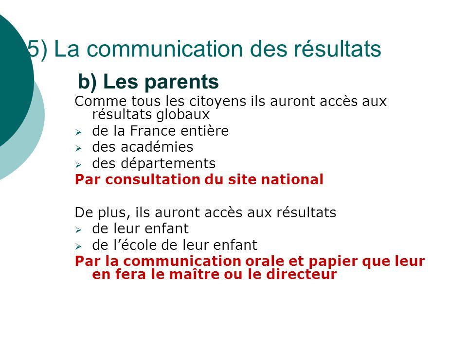 Comme tous les citoyens ils auront accès aux résultats globaux  de la France entière  des académies  des départements Par consultation du site nati