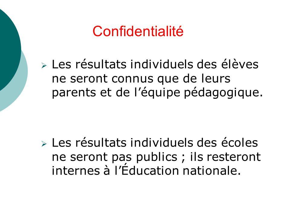  Les résultats individuels des élèves ne seront connus que de leurs parents et de l'équipe pédagogique.  Les résultats individuels des écoles ne ser