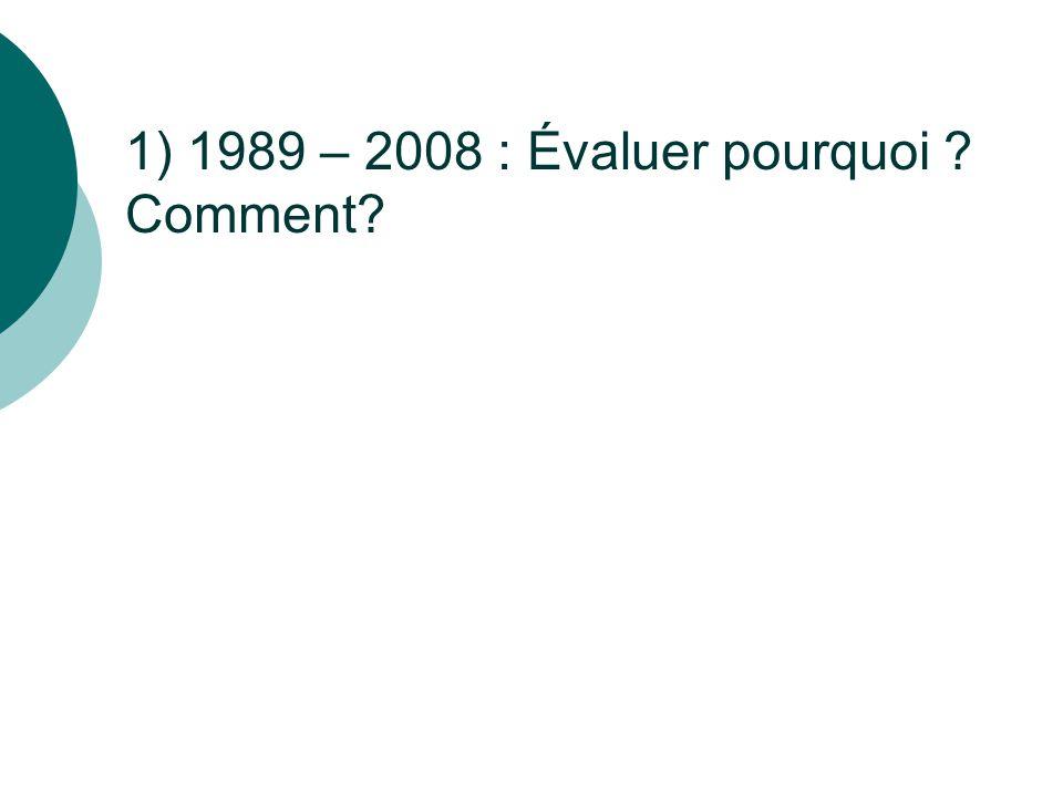 1) 1989 – 2008 : Évaluer pourquoi ? Comment?