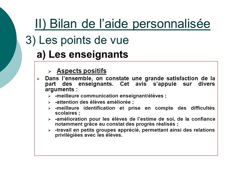 II) Bilan de l'aide personnalisée 3) Les points de vue  Aspects positifs  Dans l'ensemble, on constate une grande satisfaction de la part des enseig
