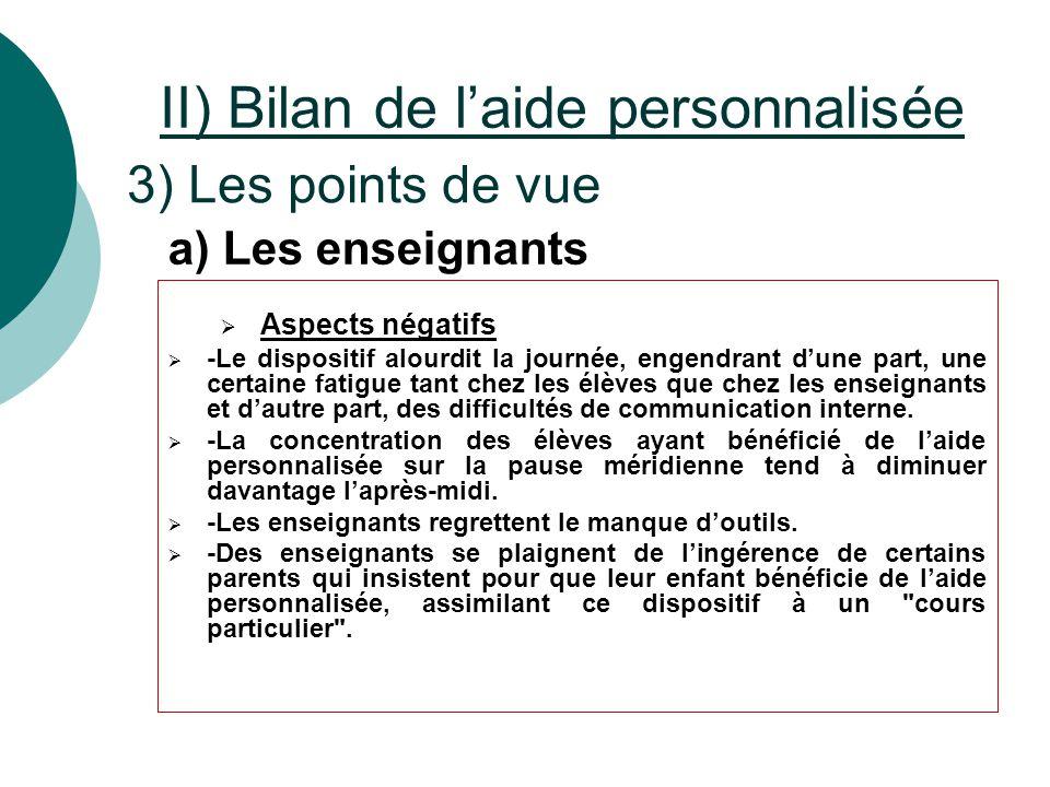 II) Bilan de l'aide personnalisée 3) Les points de vue  Aspects négatifs  -Le dispositif alourdit la journée, engendrant d'une part, une certaine fa