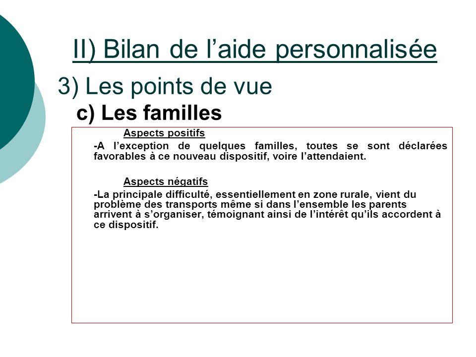 II) Bilan de l'aide personnalisée 3) Les points de vue Aspects positifs -A l'exception de quelques familles, toutes se sont déclarées favorables à ce