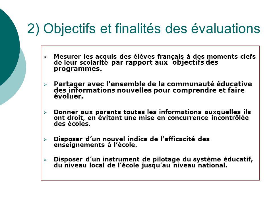 2) Objectifs et finalités des évaluations  Mesurer les acquis des élèves français à des moments clefs de leur scolarité par rapport aux objectifs des