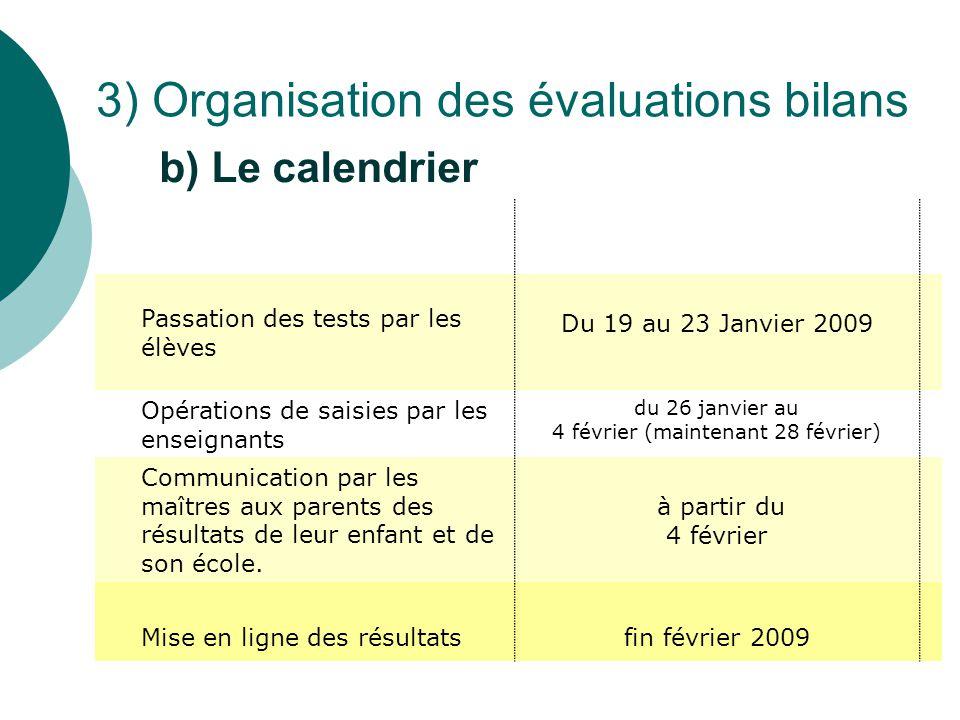 Passation des tests par les élèves Du 19 au 23 Janvier 2009 Opérations de saisies par les enseignants du 26 janvier au 4 février (maintenant 28 févrie