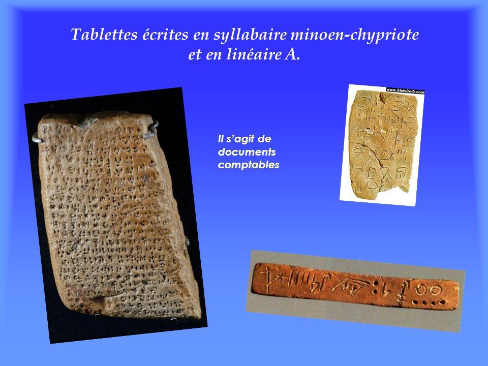 Tablettes écrites en syllabaire minoen-chypriote et en linéaire A. Il s'agit de documents comptables