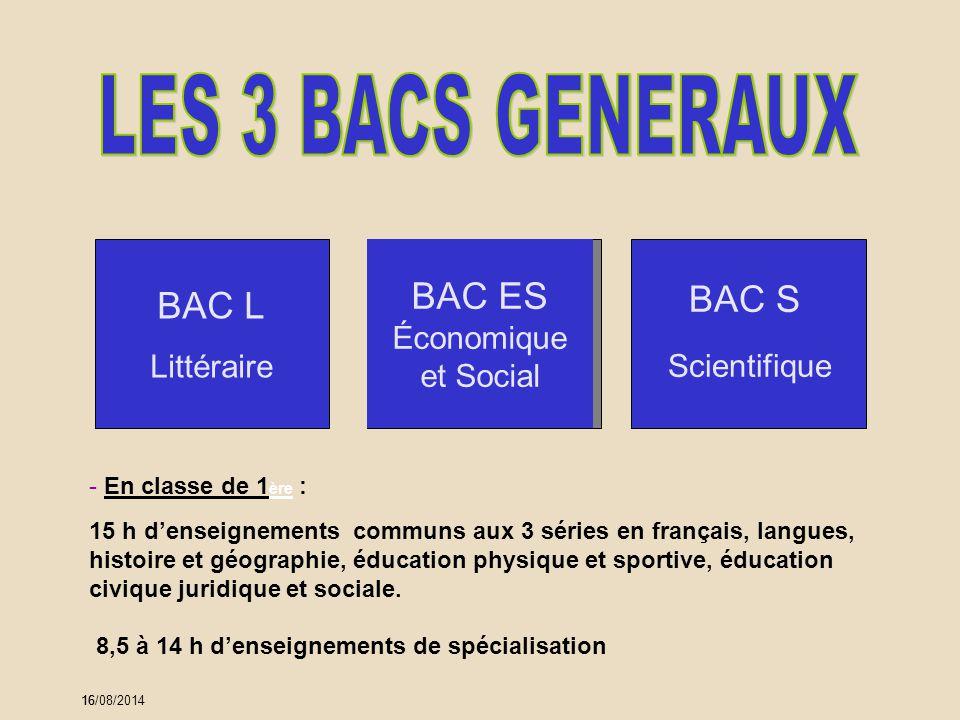 16 - En classe de 1 ère : 15 h d'enseignements communs aux 3 séries en français, langues, histoire et géographie, éducation physique et sportive, éduc
