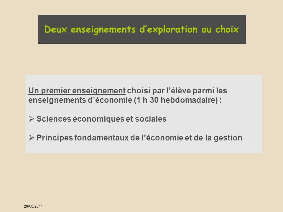 20 Deux enseignements d'exploration au choix Un premier enseignement choisi par l'élève parmi les enseignements d'économie (1 h 30 hebdomadaire) :  S
