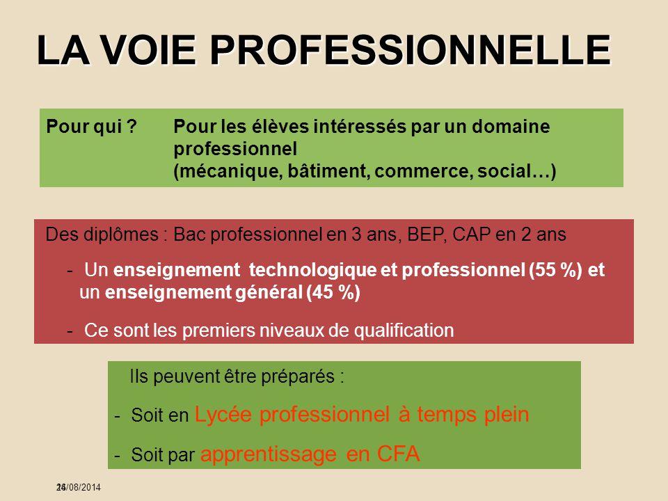 24 Des diplômes : Bac professionnel en 3 ans, BEP, CAP en 2 ans - Un enseignement technologique et professionnel (55 %) et un enseignement général (45