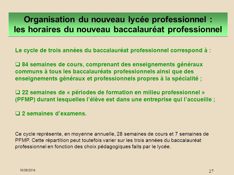 Organisation du nouveau lycée professionnel : les horaires du nouveau baccalauréat professionnel Le cycle de trois années du baccalauréat professionne
