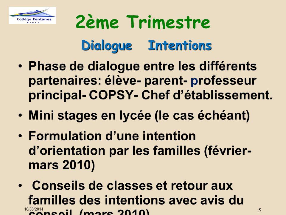 2ème Trimestre Dialogue Intentions Phase de dialogue entre les différents partenaires: élève- parent- professeur principal- COPSY- Chef d'établissement.