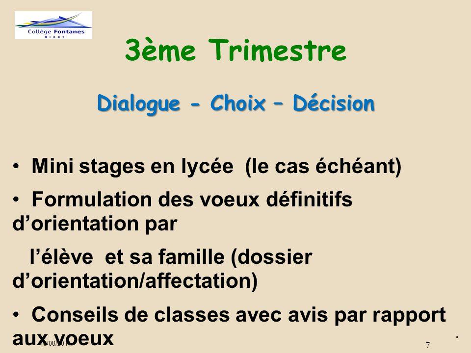 7 3ème Trimestre Dialogue - Choix – Décision. Mini stages en lycée (le cas échéant) Formulation des voeux définitifs d'orientation par l'élève et sa f