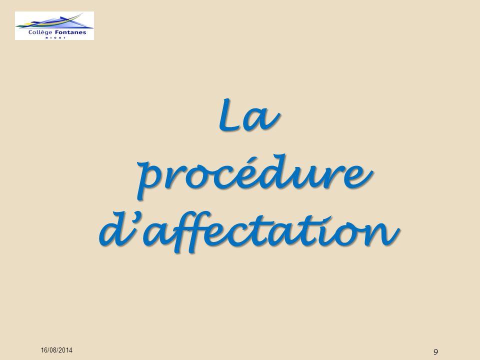 16/08/2014 9 La procédure procédured'affectation