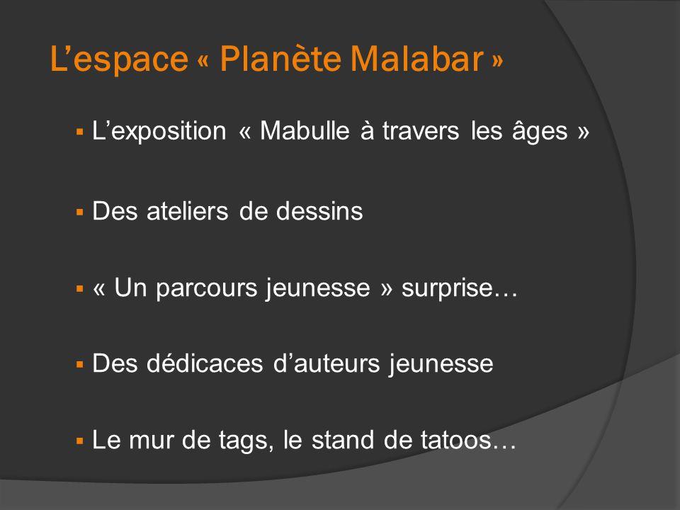 L'espace « Planète Malabar »  L'exposition « Mabulle à travers les âges »  Des ateliers de dessins  « Un parcours jeunesse » surprise…  Des dédica