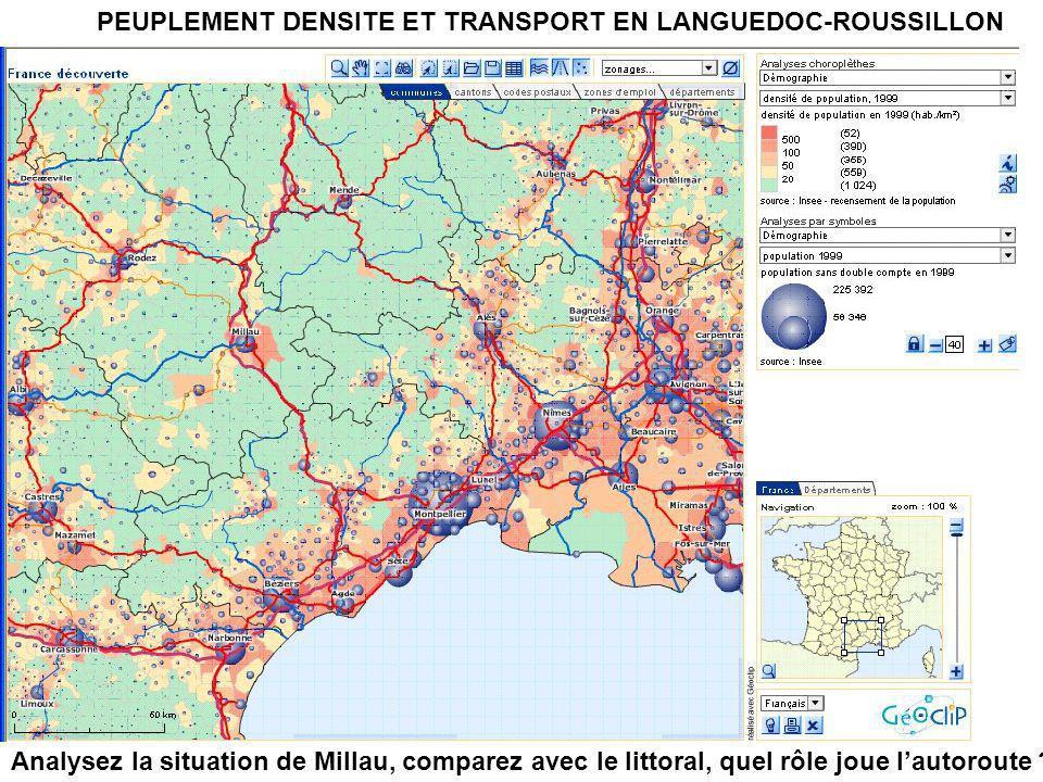 PEUPLEMENT DENSITE ET TRANSPORT EN LANGUEDOC-ROUSSILLON Analysez la situation de Millau, comparez avec le littoral, quel rôle joue l'autoroute ?