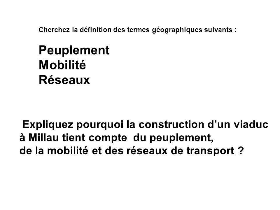 Cherchez la définition des termes géographiques suivants : Peuplement Mobilité Réseaux Expliquez pourquoi la construction d'un viaduc à Millau tient c