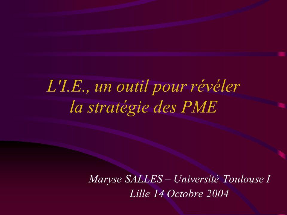 L I.E., un outil pour révéler la stratégie des PME Maryse SALLES – Université Toulouse I Lille 14 Octobre 2004