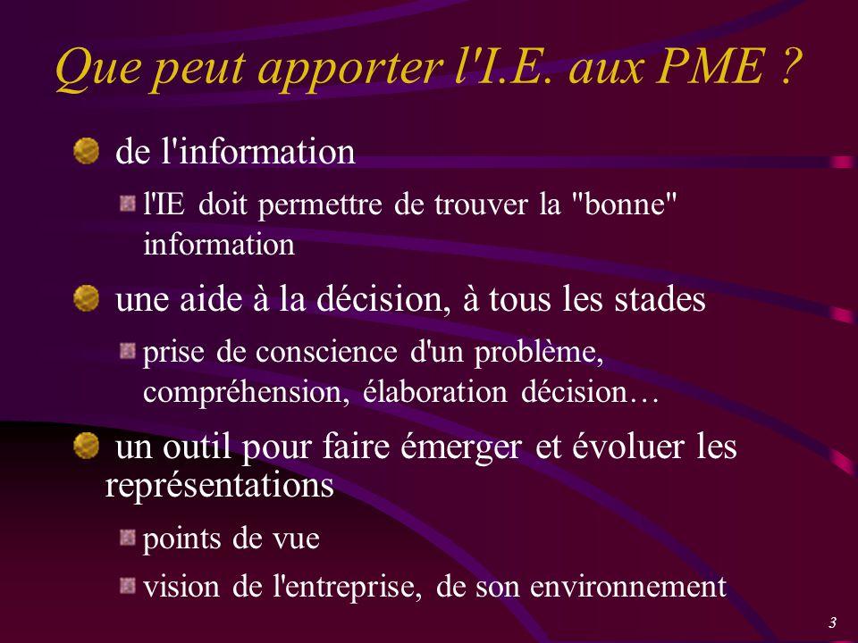 3 Que peut apporter l I.E. aux PME .