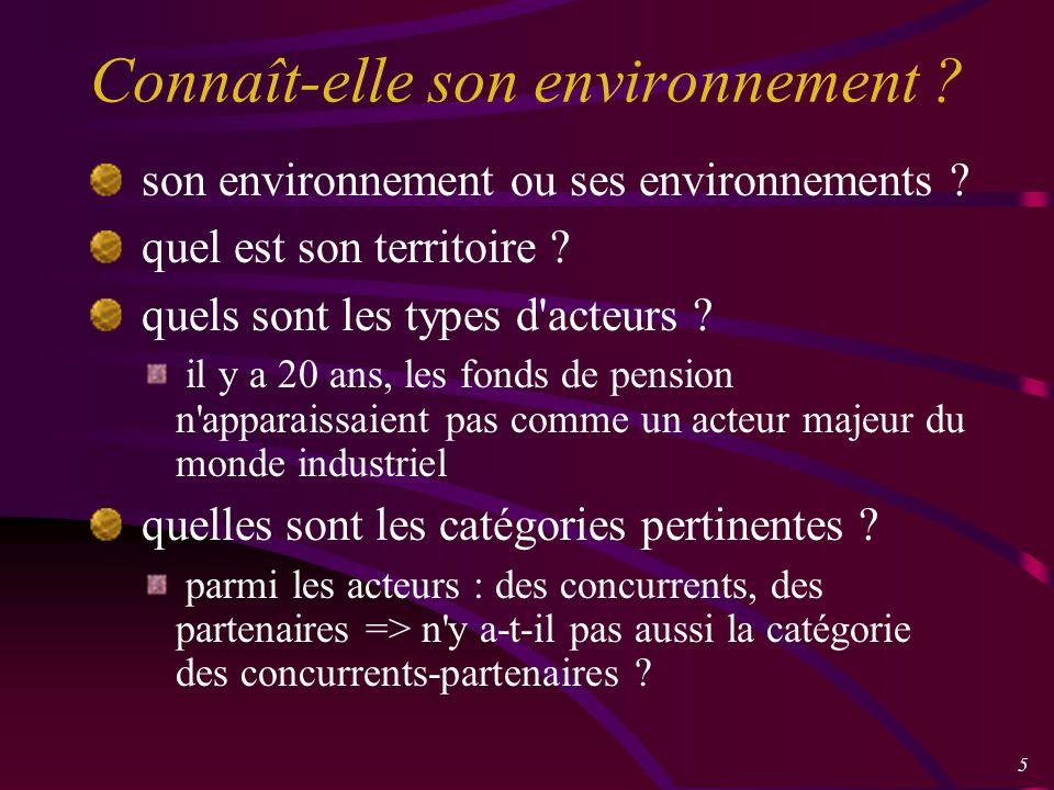 5 Connaît-elle son environnement . son environnement ou ses environnements .