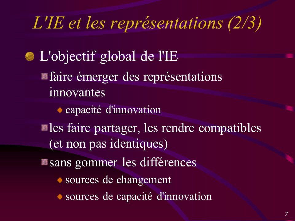 7 L IE et les représentations (2/3) L objectif global de l IE faire émerger des représentations innovantes capacité d innovation les faire partager, les rendre compatibles (et non pas identiques) sans gommer les différences sources de changement sources de capacité d innovation