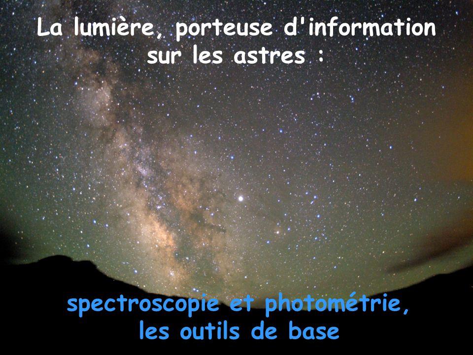 La lumière, porteuse d information sur les astres : spectroscopie et photométrie, les outils de base