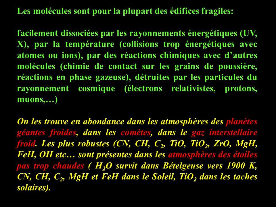 Les molécules sont pour la plupart des édifices fragiles: facilement dissociées par les rayonnements énergétiques (UV, X), par la température (collisions trop énergétiques avec atomes ou ions), par des réactions chimiques avec d'autres molécules (chimie de contact sur les grains de poussière, réactions en phase gazeuse), détruites par les particules du rayonnement cosmique (électrons relativistes, protons, muons,…) On les trouve en abondance dans les atmosphères des planètes géantes froides, dans les comètes, dans le gaz interstellaire froid.