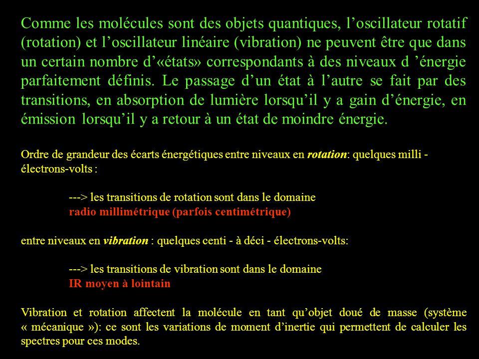 Comme les molécules sont des objets quantiques, l'oscillateur rotatif (rotation) et l'oscillateur linéaire (vibration) ne peuvent être que dans un certain nombre d'«états» correspondants à des niveaux d 'énergie parfaitement définis.