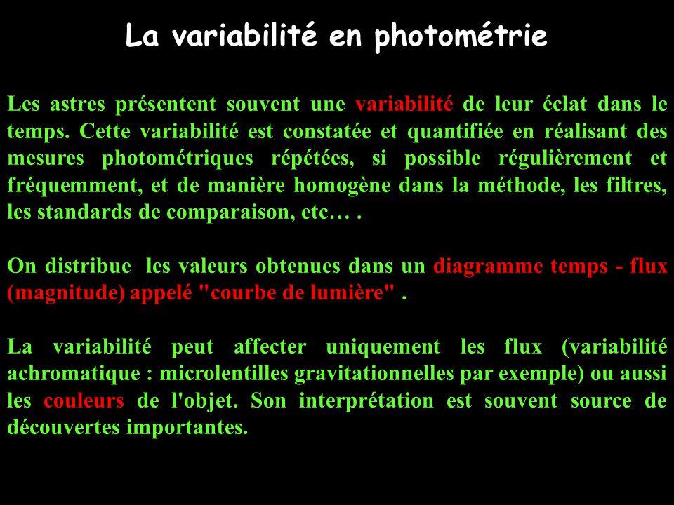 La variabilité en photométrie Les astres présentent souvent une variabilité de leur éclat dans le temps.