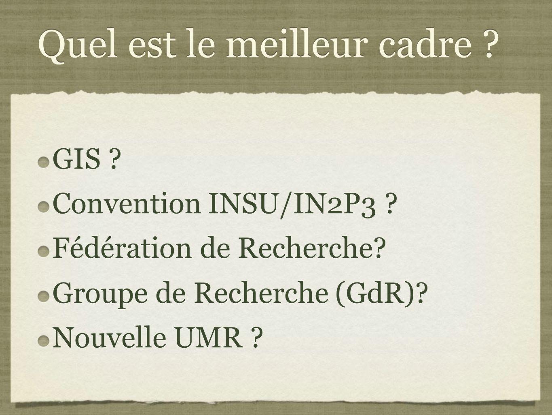 Quel est le meilleur cadre .GIS . Convention INSU/IN2P3 .