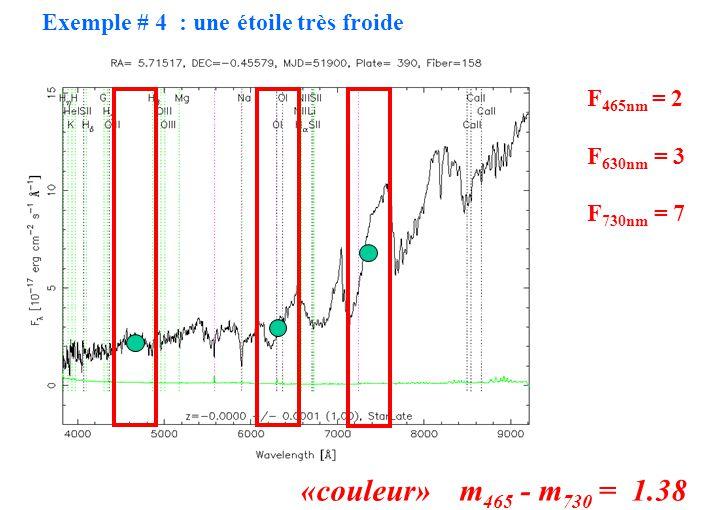 F 465nm = 2 F 630nm = 3 F 730nm = 7 «couleur» m 465 - m 730 = 1.38 Exemple # 4 : une étoile très froide