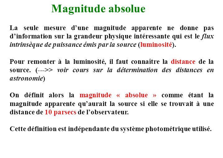 Magnitude absolue La seule mesure d'une magnitude apparente ne donne pas d'information sur la grandeur physique intéressante qui est le flux intrinsèq
