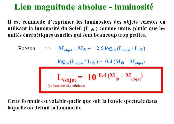 Lien magnitude absolue - luminosité Il est commode d'exprimer les luminosités des objets célestes en utilisant la luminosité du Soleil (L  ) comme un