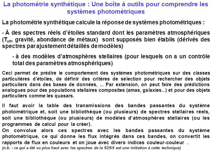 La photométrie synthétique : Une boîte à outils pour comprendre les systèmes photométriques La photométrie synthétique calcule la réponse de systèmes