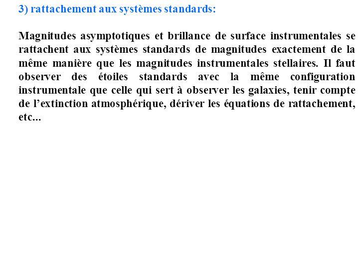 3) rattachement aux systèmes standards: Magnitudes asymptotiques et brillance de surface instrumentales se rattachent aux systèmes standards de magnit