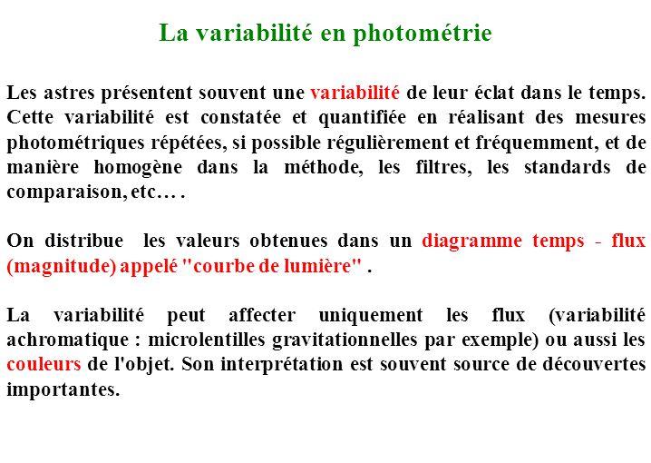 La variabilité en photométrie Les astres présentent souvent une variabilité de leur éclat dans le temps. Cette variabilité est constatée et quantifiée